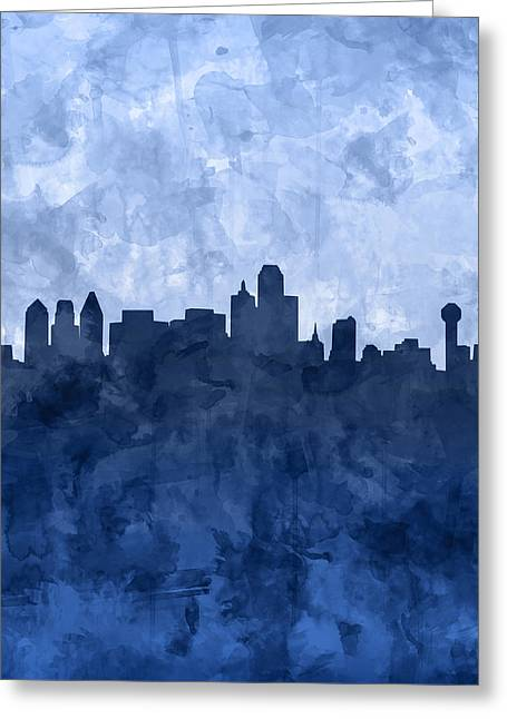 Dallas Skyline Grunge Blue Greeting Card