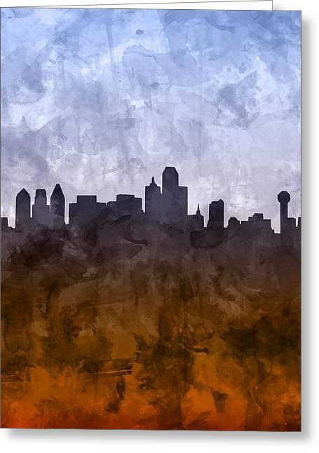 Dallas Skyline Grunge Greeting Card