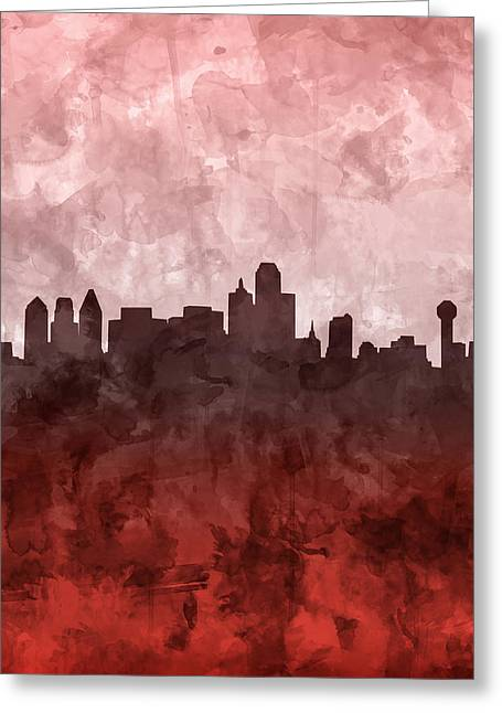 Dallas Skyline Grunge Red Greeting Card