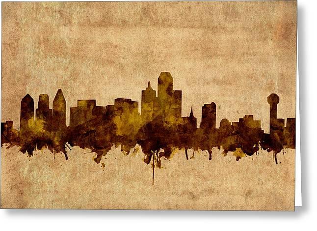 Dallas Skyline Grunge Sepia Greeting Card