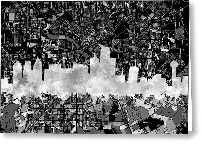 Dallas Skyline Map Black And White 2 Greeting Card