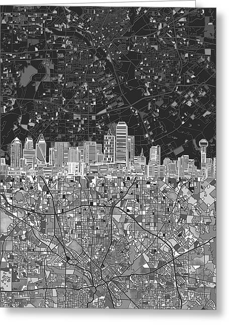 Dallas Skyline Map Black And White 3 Greeting Card
