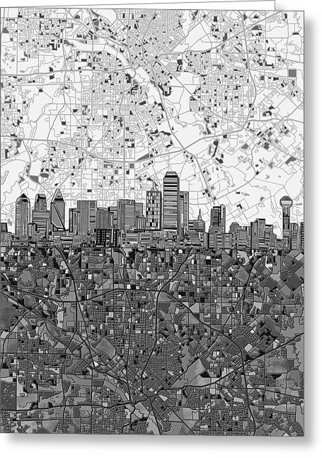 Dallas Skyline Map Black And White 4 Greeting Card