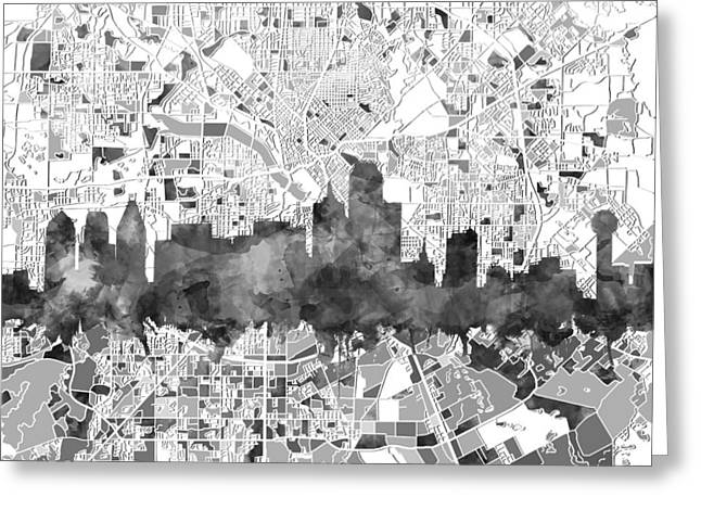 Dallas Skyline Map Black And White Greeting Card