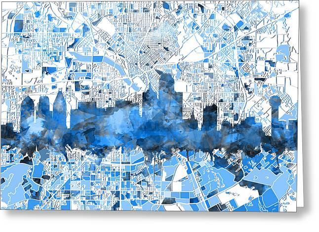 Dallas Skyline Map Blue 2 Greeting Card