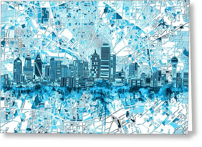 Dallas Skyline Map Blue 6 Greeting Card