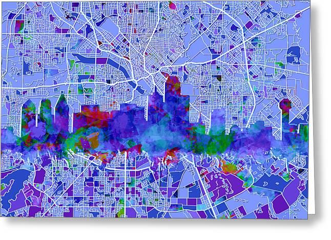 Dallas Skyline Map Blue Greeting Card