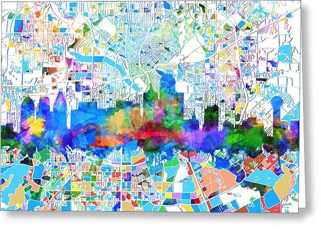 Dallas Skyline Map Color 2 Greeting Card