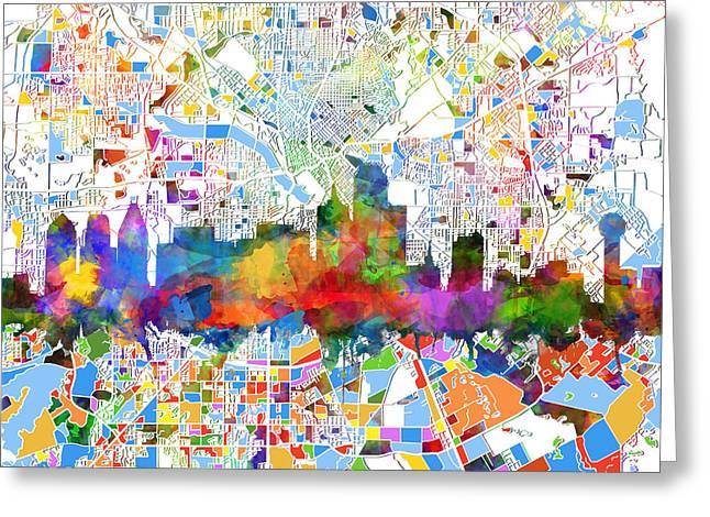 Dallas Skyline Map Color 3 Greeting Card
