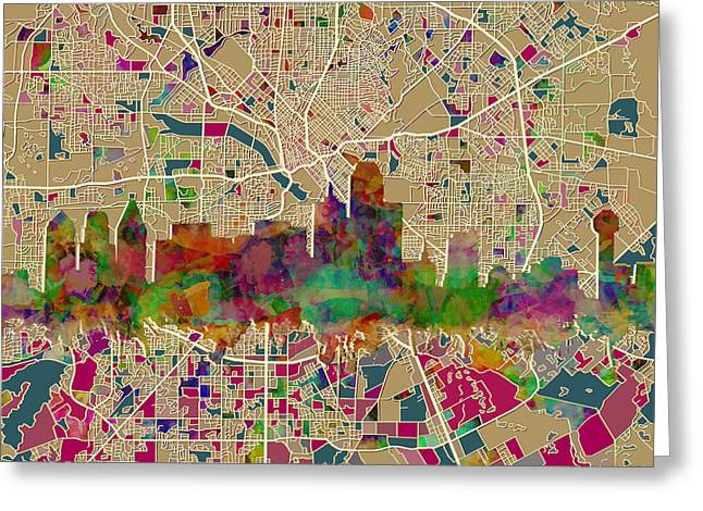 Dallas Skyline Map Color Greeting Card