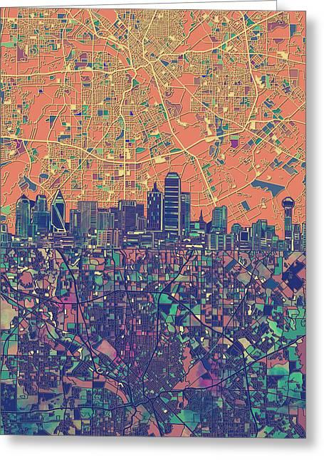 Dallas Skyline Map Orange Greeting Card
