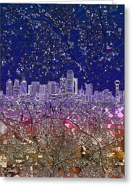 Dallas Skyline Map Purple 2 Greeting Card