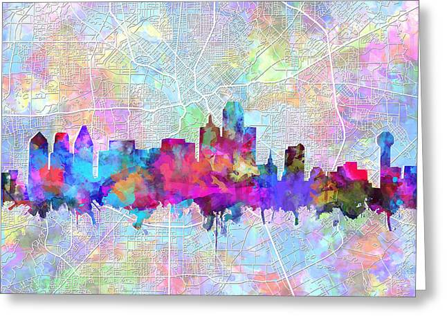 Dallas Skyline Map Purple Greeting Card