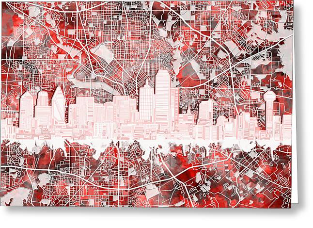Dallas Skyline Map Red 2 Greeting Card