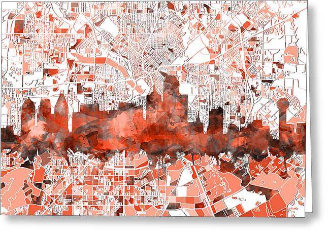 Dallas Skyline Map Red Greeting Card