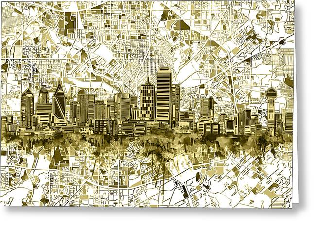 Dallas Skyline Map Sepia 2 Greeting Card