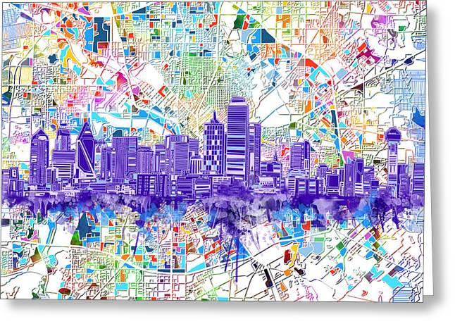 Dallas Skyline Map White 3 Greeting Card