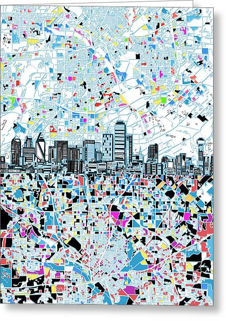 Dallas Skyline Map White Greeting Card