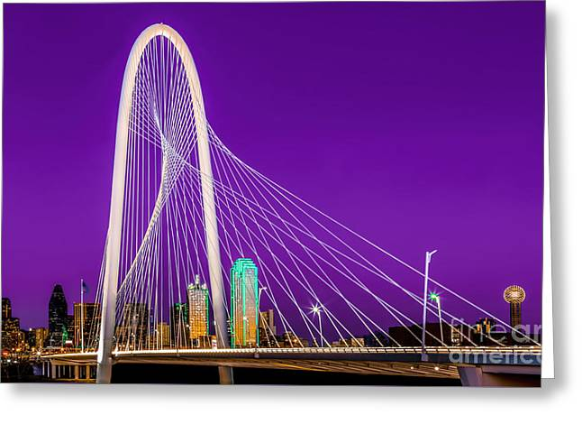 Dallas Skyline Purple Greeting Card
