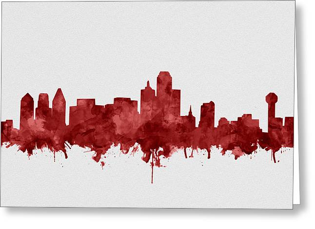 Dallas Skyline Red Greeting Card