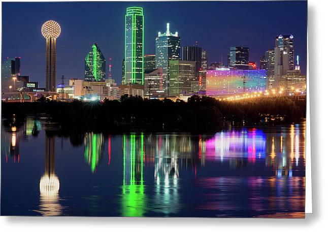 Dallas Skyline Reflection 91317 Greeting Card
