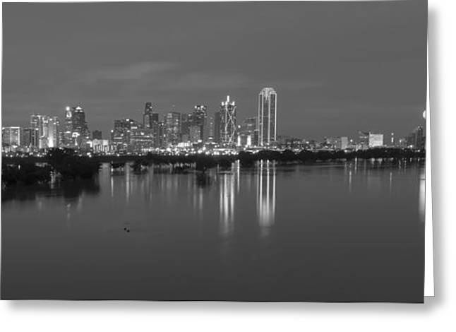 Dallas Skyline Trinity Black And White Greeting Card