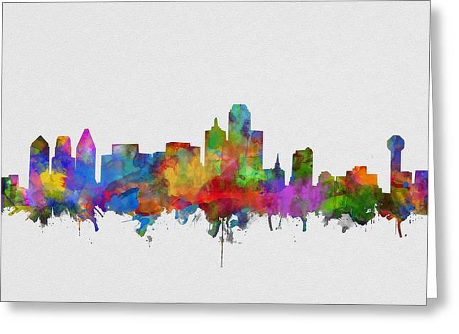 Dallas Skyline Watercolor 6 Greeting Card