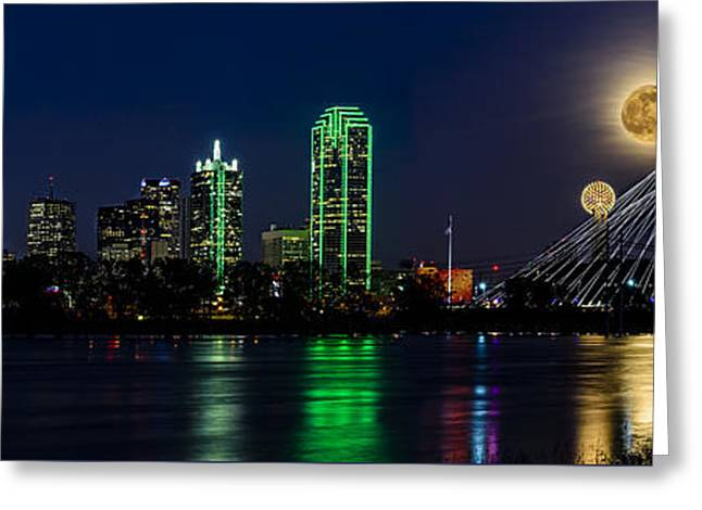 Dallas Skyline With The Strawberry Moon In Panorama Greeting Card