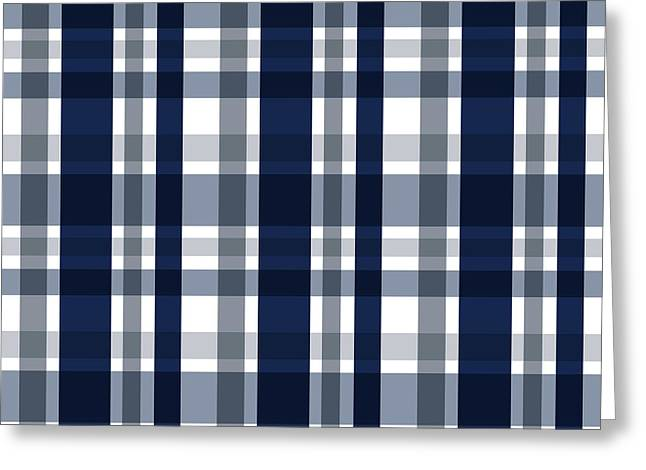Greeting Card featuring the digital art Dallas Sports Fan Navy Blue Silver Plaid Striped by Shelley Neff