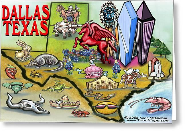Dallas Texas Cartoon Map Greeting Card