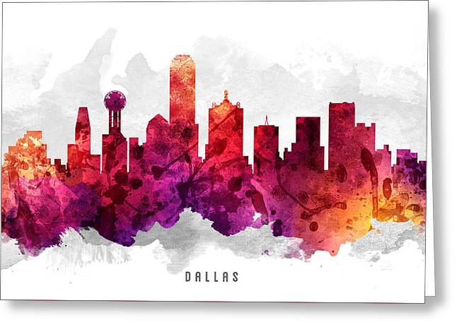 Dallas Texas Greeting Cards - Dallas Texas Cityscape 14 Greeting Card by Aged Pixel