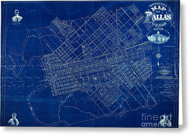 Dallas Texas Official 1875 City Map Blueprint Butterfield And Rundlett Greeting Card
