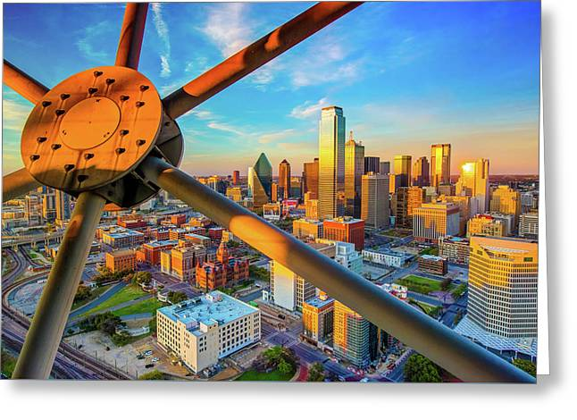 Dallas Texas Skyline At Sunset  Greeting Card