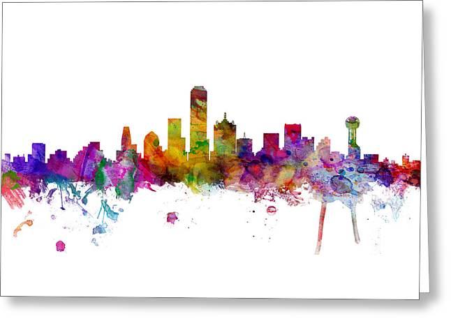 Dallas Texas Skyline Panoramic Greeting Card