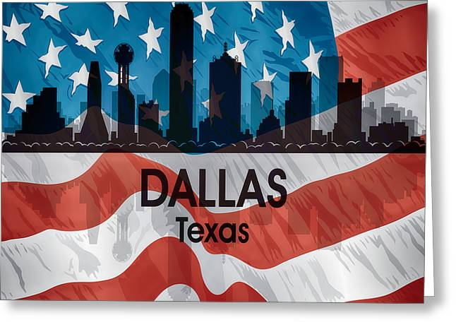 Dallas Tx American Flag Greeting Card