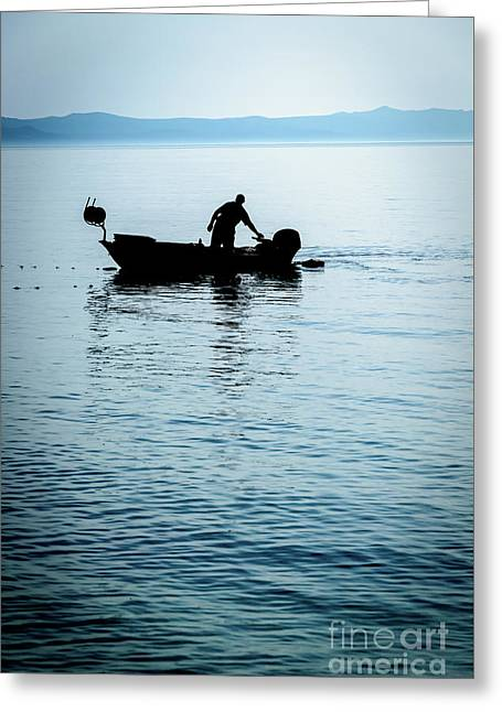Dalmatian Coast Fisherman Silhouette, Croatia Greeting Card