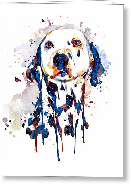 Dalmatian Head Greeting Card by Marian Voicu