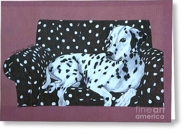 Greeting Card featuring the drawing Dalmatian On A Spotted Couch by Terri Mills