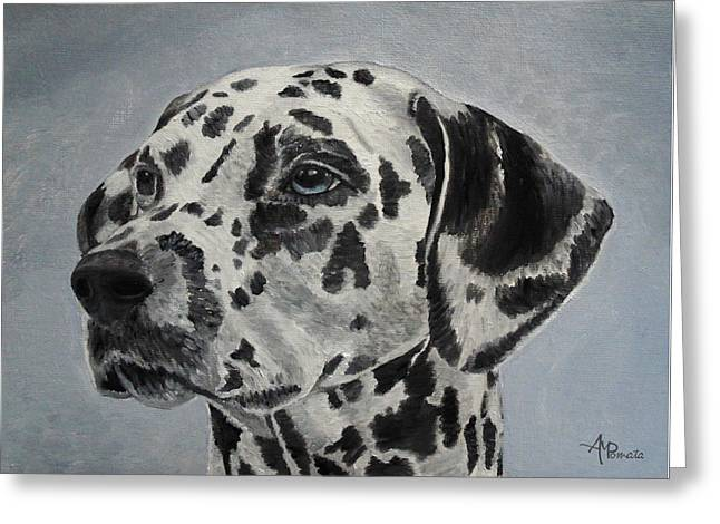 Greeting Card featuring the painting Dalmatian Portrait by Angeles M Pomata