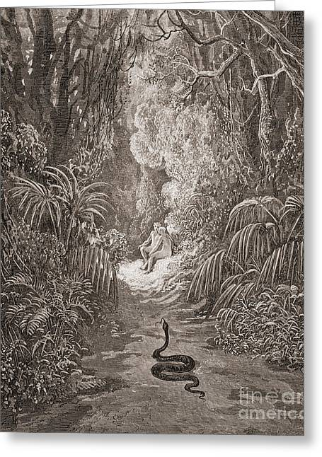 Adam And Eve   Illustration From Paradise Lost By John Milton Greeting Card by Gustave Dore
