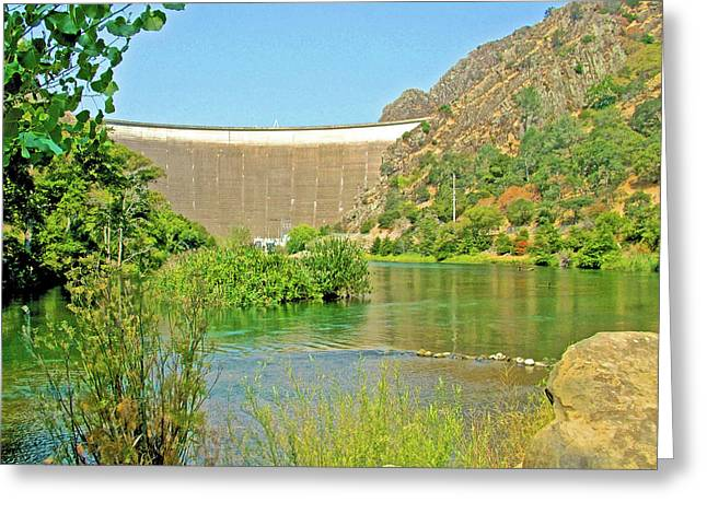 Dam Forming Lake Berryessa From Canyon Creek-california Greeting Card