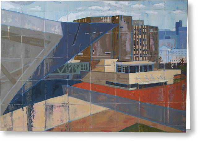 Greeting Card featuring the painting Dam Museum by Erin Fickert-Rowland