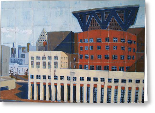 Greeting Card featuring the painting Dam Public Library by Erin Fickert-Rowland