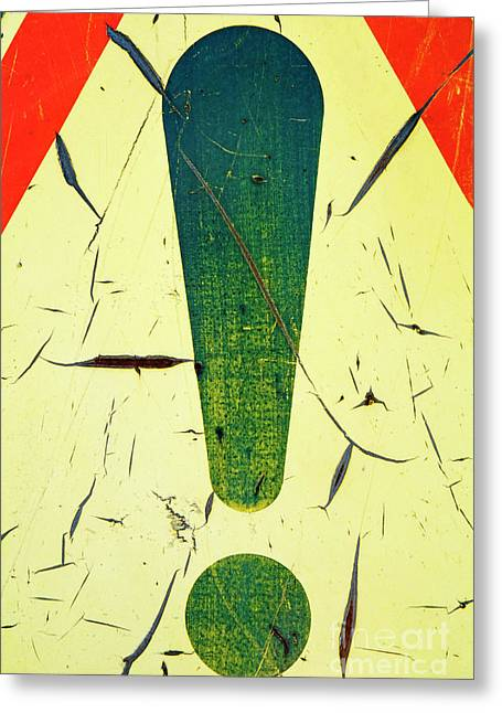 Damaged Surface Of A Road Warning Sign In France Greeting Card by Sami Sarkis
