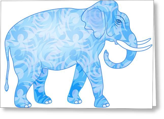 Damask Pattern Elephant Greeting Card