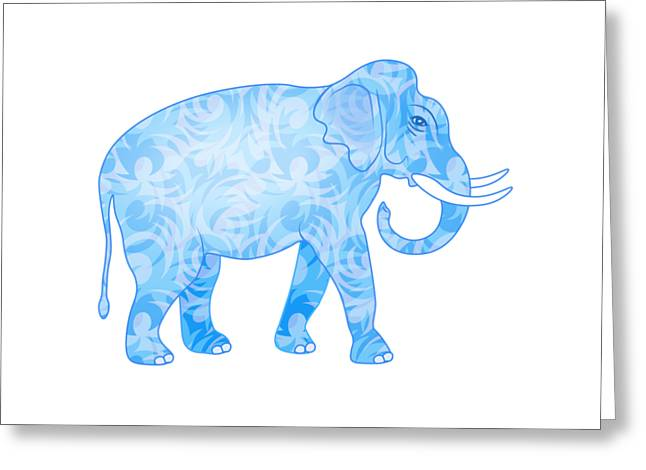 Damask Pattern Elephant Greeting Card by Antique Images