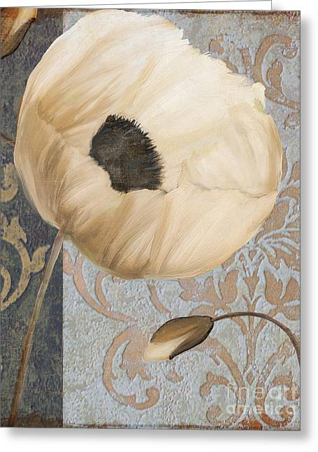 Damask Poppy Greeting Card by Mindy Sommers