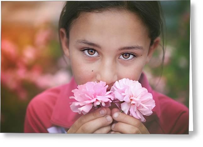 Damask Roses Greeting Card