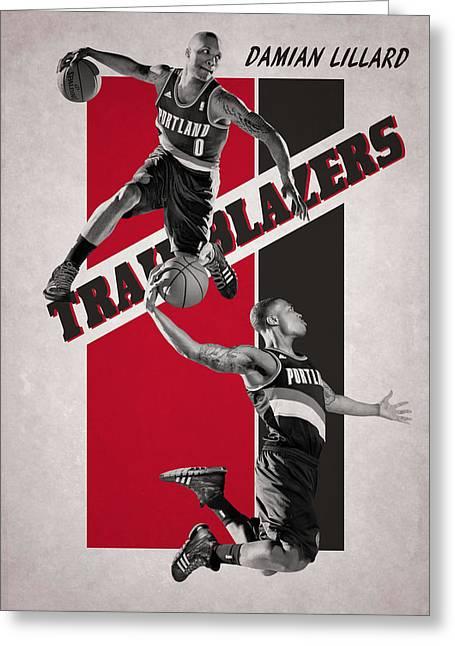 Damian Lillard Portland Trail Blazers Greeting Card by Joe Hamilton