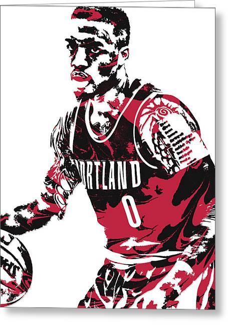 Damian Lillard Portland Trail Blazers Pixel Art 10 Greeting Card
